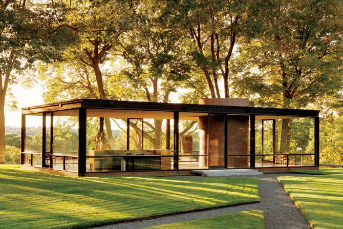 [Glass House by Philip Johnson. Photo by Architectural Digest.] & Characteristics of Simple Minimalist House Plans
